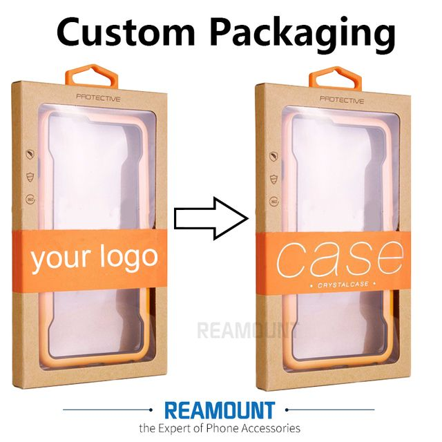 100 pcs New Customize LOGO Kraft Paper Packaging Box with Inner Tray for iPhone X 8 8 plus with sticker for Samsung S8 8 plus