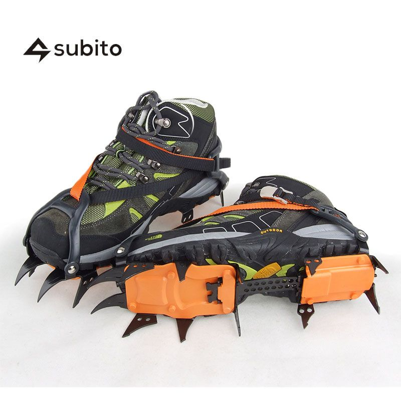 SUBITO Universal 12 Steel Teeth TractionAnti-Slip Ice Cleats Crampons Snow Cleats For Shoes Travel Kits Crampon Ice Shoe Spikes