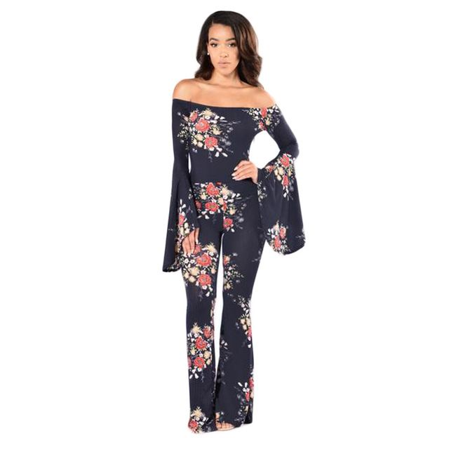 Women Frill Sleeve Off Shoulder Jumpsuit Black Floral Print Elegant Slash Neck Autumn Wide Leg Playsuit Plus Size Long Overalls