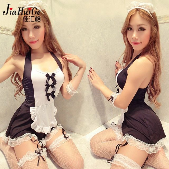 JiaHuiGe Maid Lingerie Women Hot Lace Underwear Sexy Maid Costumes Babydoll Dress Erotic Lingerie Sexy Cosplay Uniform Lingerie