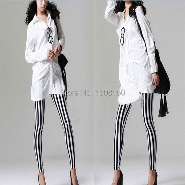 Stylish Women's Cool Vertical Striped Stretchy Skinny Leggings Pants New