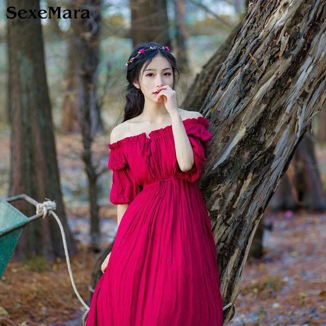 SexeMara Japanese Vintage Elegant Mori Girl Off collar Sweet Lolita Fairy Princess Dress Women Cotton Linen Long Dress