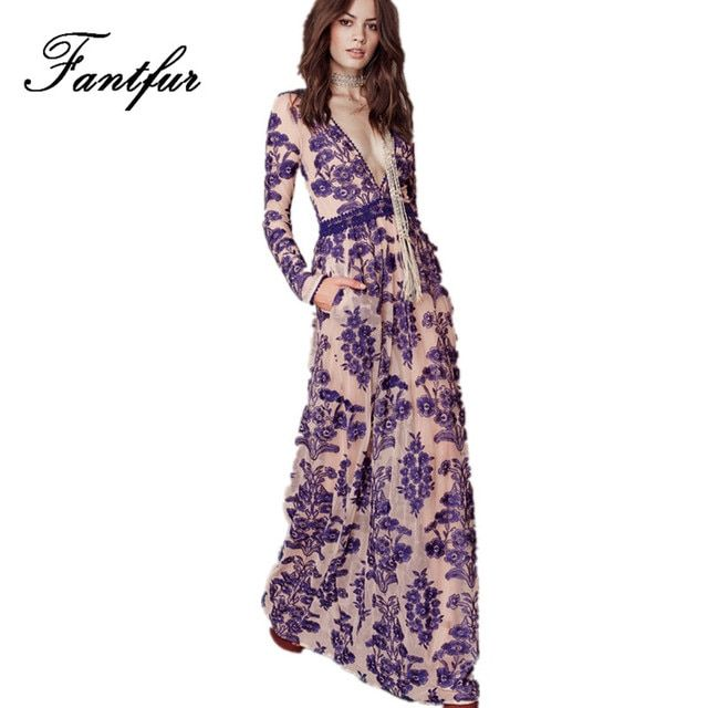 Runway Long Dress for Women Sexy Mesh Embroidery Flower Deep V Neck Long Sleeve Long Maxi Dress Holiday Vestidos