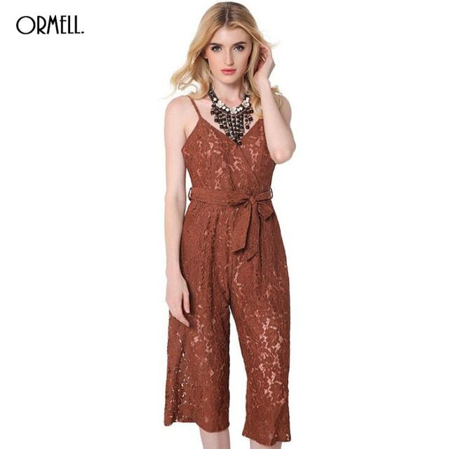 ORMELL Sexy Sleeveless 2016 Summer Style New Dailay Romper Women Jumpsuit Ladies V-Neck Lace Bowknot Rompers