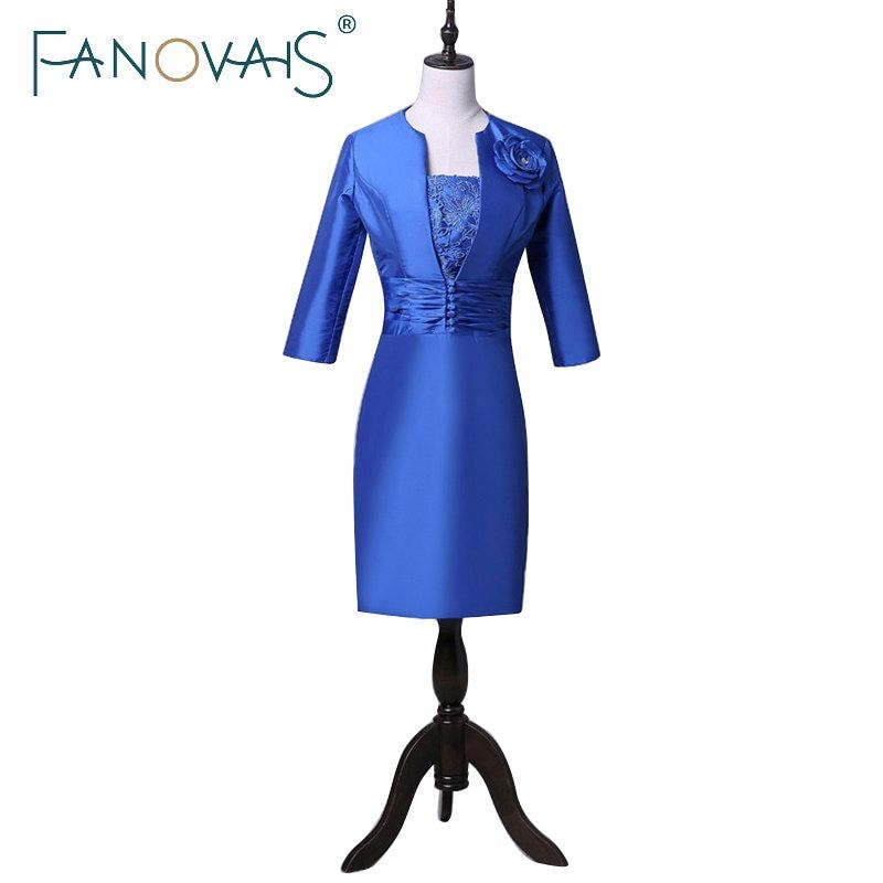 Royal Blue Knee Length Mother of the bride dresses Half Sleeves With Flower Elegant Groom Mother Dresses Gowns Short Mom Dresses