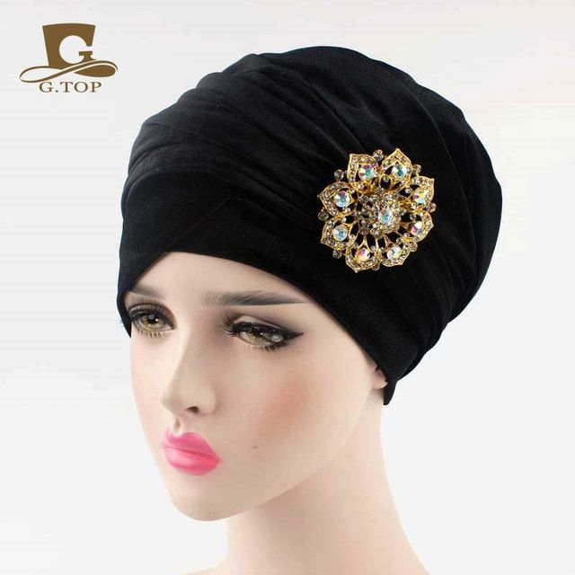 2016 NEW  Luxury pleated velvet Turban velour hijab Head Wrap Extra Long tube indian Headwrap Scarf Tie with the jewelry brooch