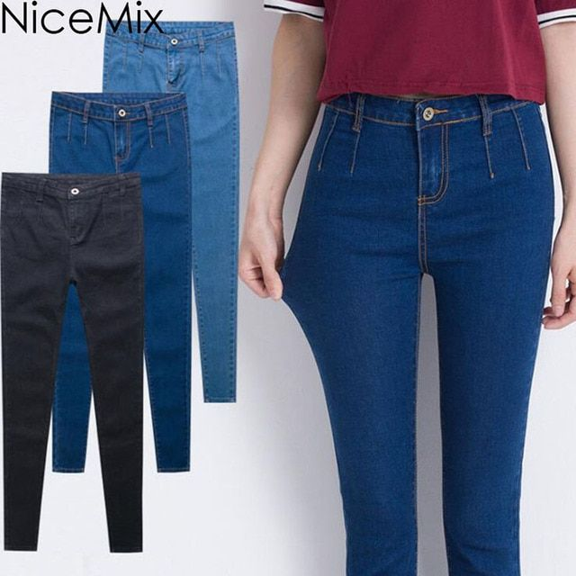 NiceMix Brand 2017 Elastic High Waist Jeans Woman Plus Size Casual Denim Pants Sexy Skinny Pencil Pants Jeans Femme