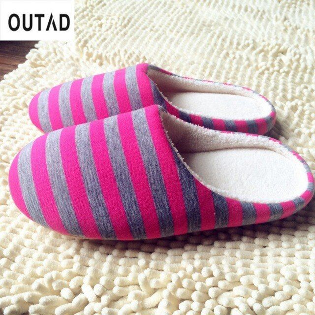 OUTAD Soft Warm Home indoor Slippers Women Men Striped Plush Shoes For Couple Lovers Drop Shipping