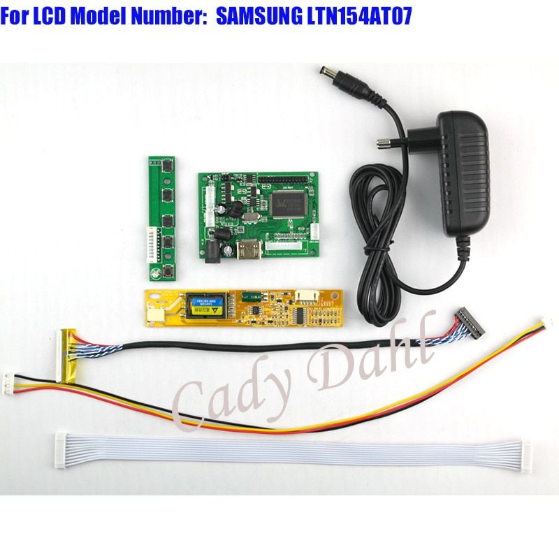 HDMI Controller Board + Backlight Inverter + 30Pins Lvds Cable + Power Adapter Kit for LTN154AT07 1280x800 1ch 6 bit LCD Panel