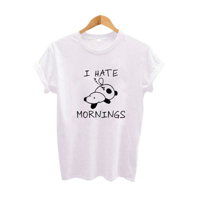 I hate mornings Lazy T Shirt Women Hipster C Printing tshirt Cute Funny Graphic Tees Women t-shirt Harajuku Clothing