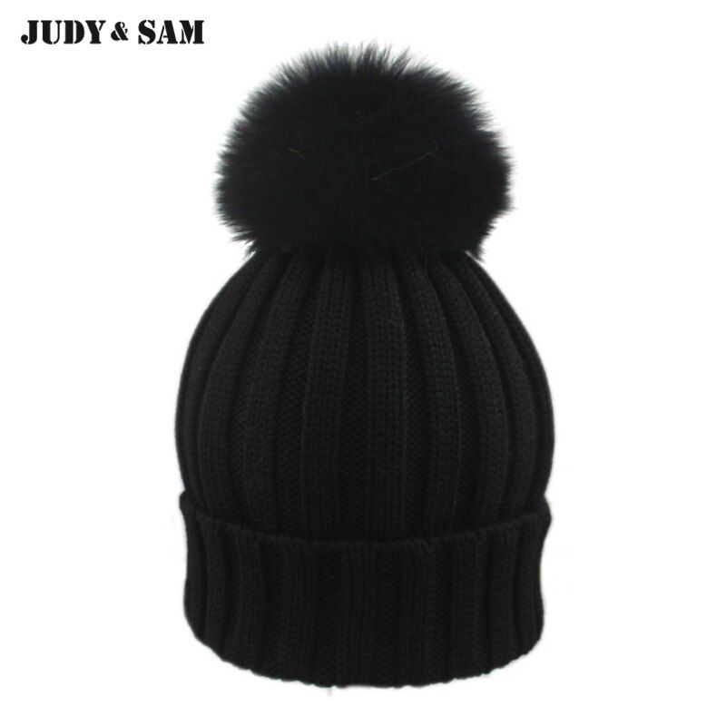 2015 New Brand Female Elegent Style 100% Merino Woolen Fitted Hat with Luxury Genuine Fox Fur Pom Pom Black Gorro Beanie for Men
