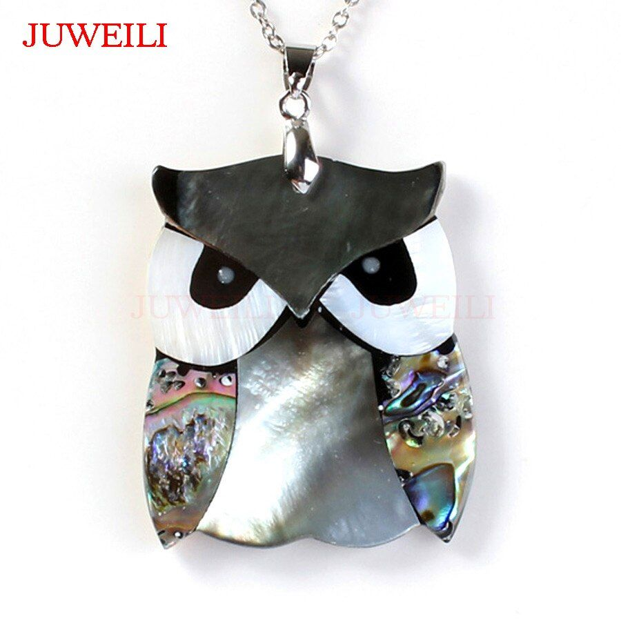 Nyx Owl Pendants Necklaces Natural Abalone Shell Charms Women Men Amulet JUWEILI Fashion Jewelry 10pcs