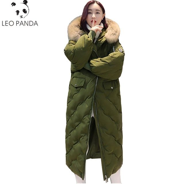 New Winter Women Super Big Real Raccoon Fur Collar thicke Maxi Long Jacket Female Outerwear Warm Hooded Zipper Coat Parka LXT322