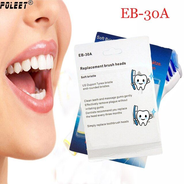 Poleet 8Pcs/Pack Electric Toothbrush Replacement Heads EB-30A/EB30A Soft-bristled Percision Oral Hygiene Clean Toothbrush Head
