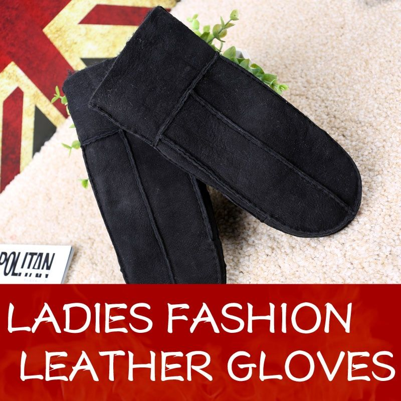 Hot Selling Mittens For Women Sheepskin Leather gloves Lady Winter Gloves Leather Women Gloves Handschoenen Fur Leather Gloves