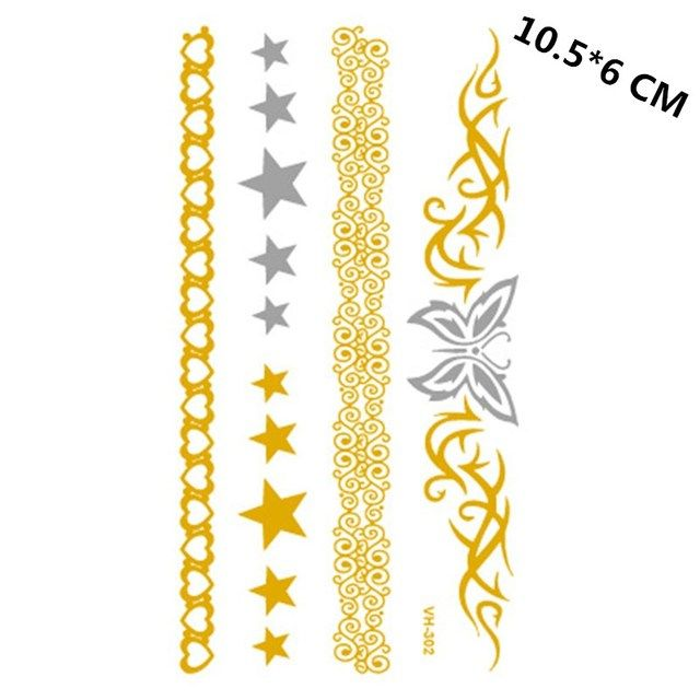 Body Art Silver and gold waterproof temporary tattoo for women butterfly heart star bracelet flash tattoos sticker VH0302