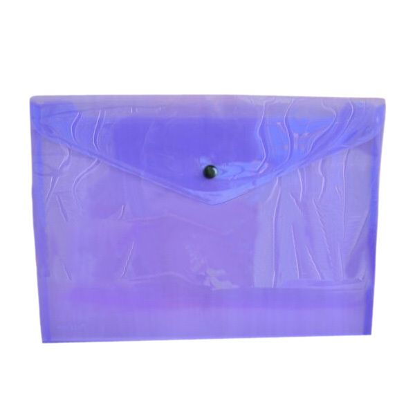 SOSW-A Pack of 12 Plastic Stud Document Wallets Folders Filing Paper Storage-purple-A4