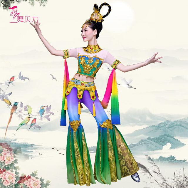 Dunhuang flying dance Chinese classical moon legend costume woman sequins Thailand  folk dance dance party clothes