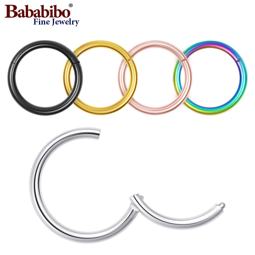 1pc 16G 6/8/10/12mm Titanium Hinged Segment Ring Nose Septum Lip Nipple Tragus Cartilage Ring Piercing body jewelry