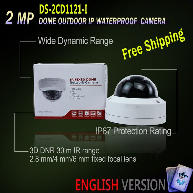 Hikvision DS-2CD1121-I Free Shipping Original English Version IP housing Dome Camera POE security P2P Replace DS-2CD2125F-I