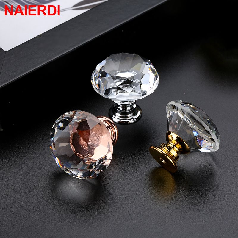 NAIERDI 20-40mm Crystal Handle Diamond Glass Knobs Cupboard Drawer Pull Kitchen Cabinet Door Wardrobe Handles Hardware