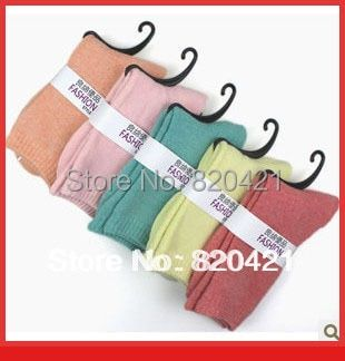 10PCS=5 pairs Thermal thickening autumn and winter  towel socks loop pile cotton candy color 100% cotton winter socks