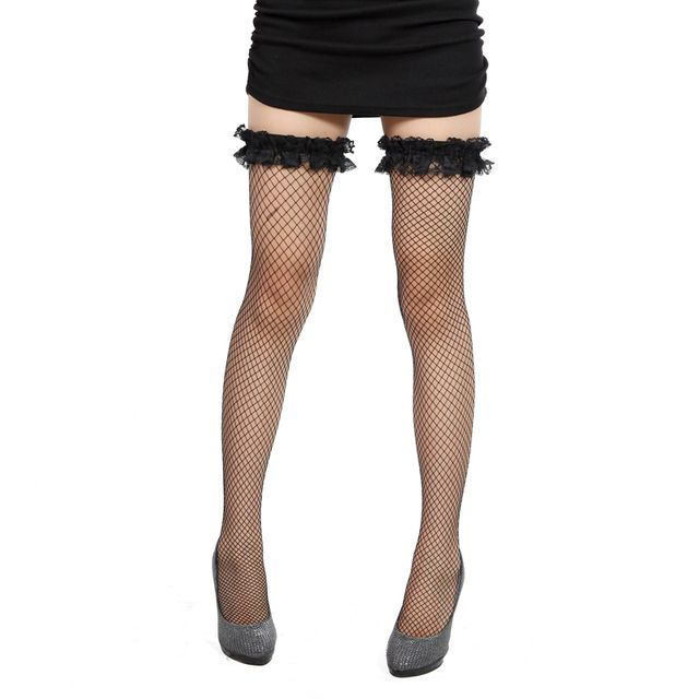Sexy fishnet stockings  lace decoration mesh stockings fishnet stockings female