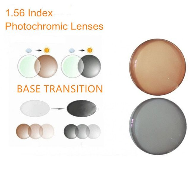 1.56 Index Prescription Photochromic Lenses Transition Grey Brown Lenses for Myopia/Hyperopia  Anti Glare Sunglasses Lens O156