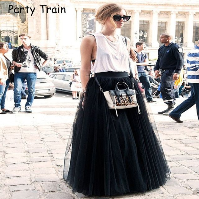 Fashion Skirt Tulle Skirts Long Womens Maxi Skirts 2017 Spring 4layers Mesh Pleated BridesmaidBall Gown Flared Saia Longa