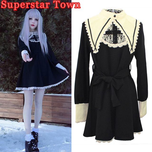 Gothic Lolita Dress Vintage Robe Darkness Maid Fake Collar Lace Dresses Harajuku Girls Nun Sister Anime Cosplay Party Dress