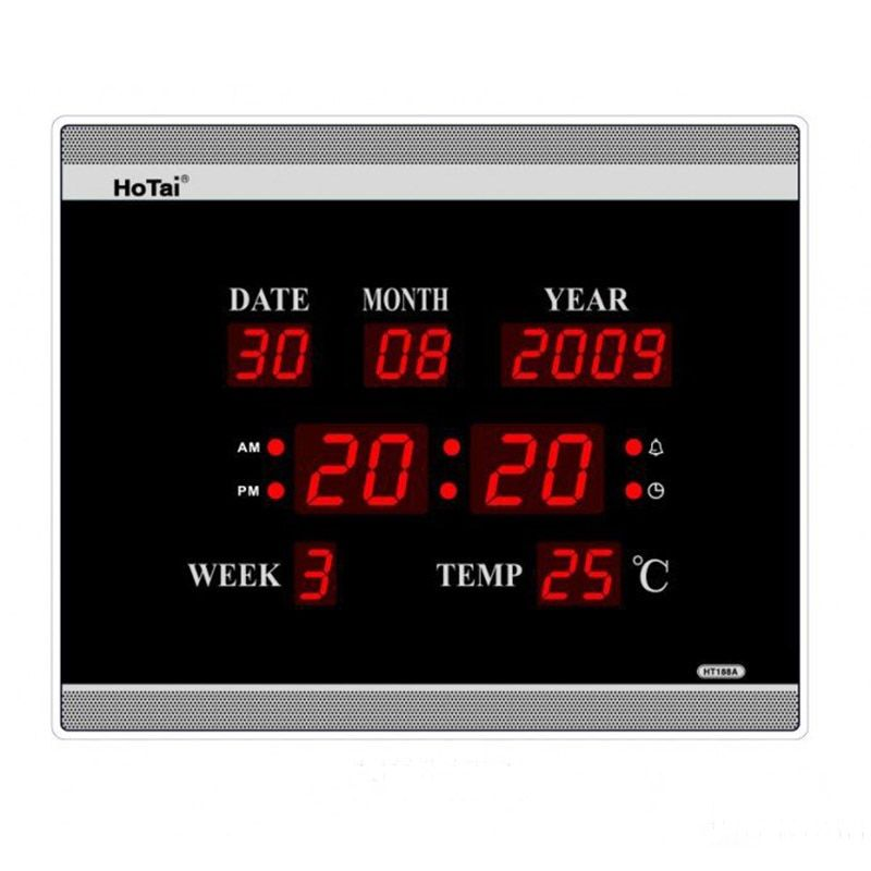 Large LED digital wall clock EU plug power crystal electronic calendar digital alarm clock desktop clock despertador klok