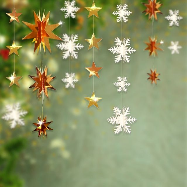 4sets Frozen Party Supplies 3D Snowflake Paper Star Garland Wedding Home Christmas New Year Decoration Christmas Hanging