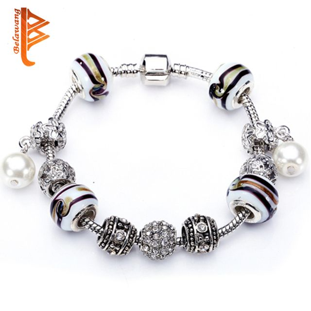 BELAWANG European Murano Glass Beads Bracelets With Simulated Pearl Pendant Bracelet For Women Valentines Gift  Cuff Bracelets