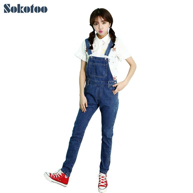 Sokotoo Women's casual pocket slim denim overalls Girl's chic all match full length suspenders jumpsuits Blue jeans