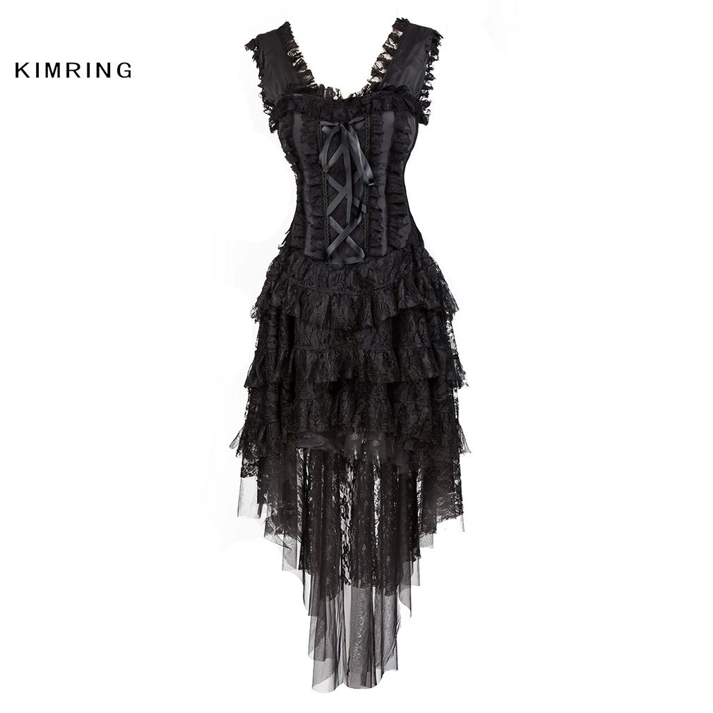 Kimring Sexy Burlesque Queen Halloween Costume Lace Corset Dress Multi Layer Ruffle Lace Skirt Bustier Corset for Women