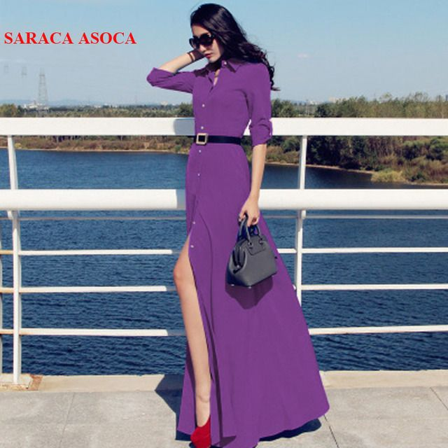 New Style Slim Floor Length Button Long Dress Women Spring Autumn Long Sleeve Fashion Brief Black Dresses Muslim Ladies