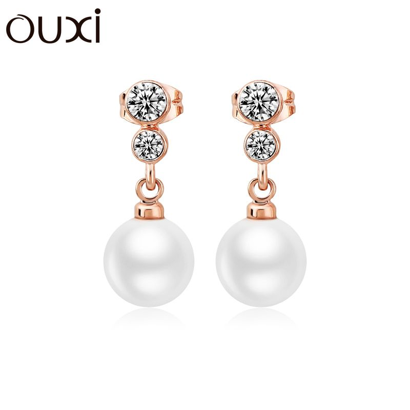 OUXI Fashion Crystal Earrings Jewelry Wholesale Rose Gold Color Imitation Pearl Earrings for Women Gift