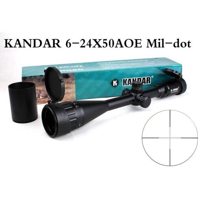 KANDAR 6-24X50 AOE Tactical Riflescope Adjustable Hunting Green Red Blue Dot Illuminated Optical Sights Reticle Rifle Scopes