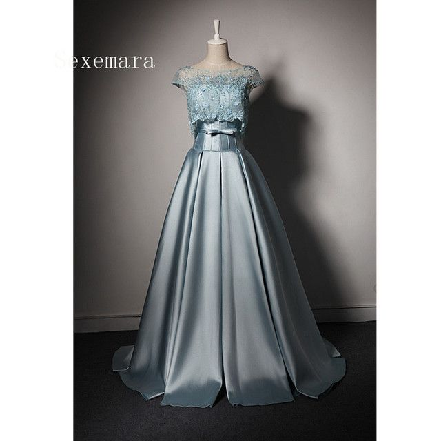 sexy evening prom gown Sequins bow blue satin robe de mariee 2018 vestido de festa Mother of the Bride Dresses with jacket