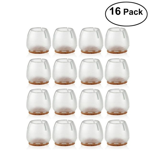 Silicone Chair Leg Caps Feet Pads Table Covers Furniture floor Protectors for 25-29MM Round Legs (Transparent+Brown)