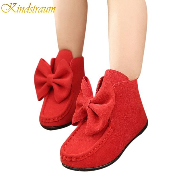 2017 New Spring Kids Boots for Girls 3 Colors Children Flat Solid Bow Boots Fashion Trench Kids Brief Shoes 4-15 Years, HJ038