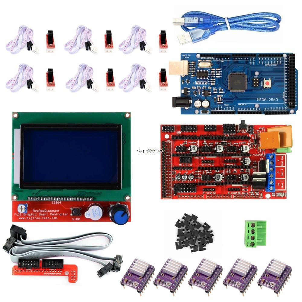 3D Printer Kit Mega 2560 R3+Ramps 1.4 Controller+12864 LCD Controller+Optical Switch Endstop+DRV8825 Stepper Driver For Arduino