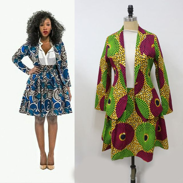 2018 new style african nice wax print blazer set african blazer and skirt set from xs to xxxxl  big sizes welcome