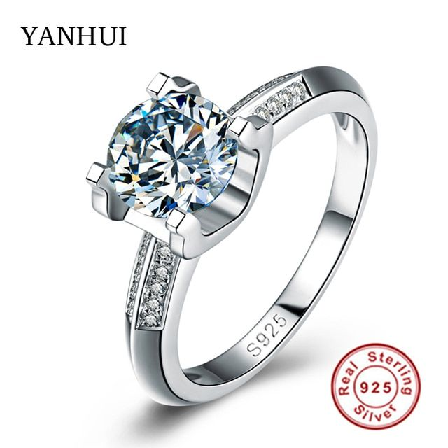 Big Sale Real Solid Silver Ring Set 1 Carat Sona CZ Diamond Wedding Ring For Women 100% 925 Sterling Silver Rings Jewelry YHR004