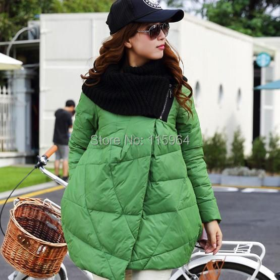 Winter new warm Duck down women thick winter coat jacket scarf collar loose women's down coat