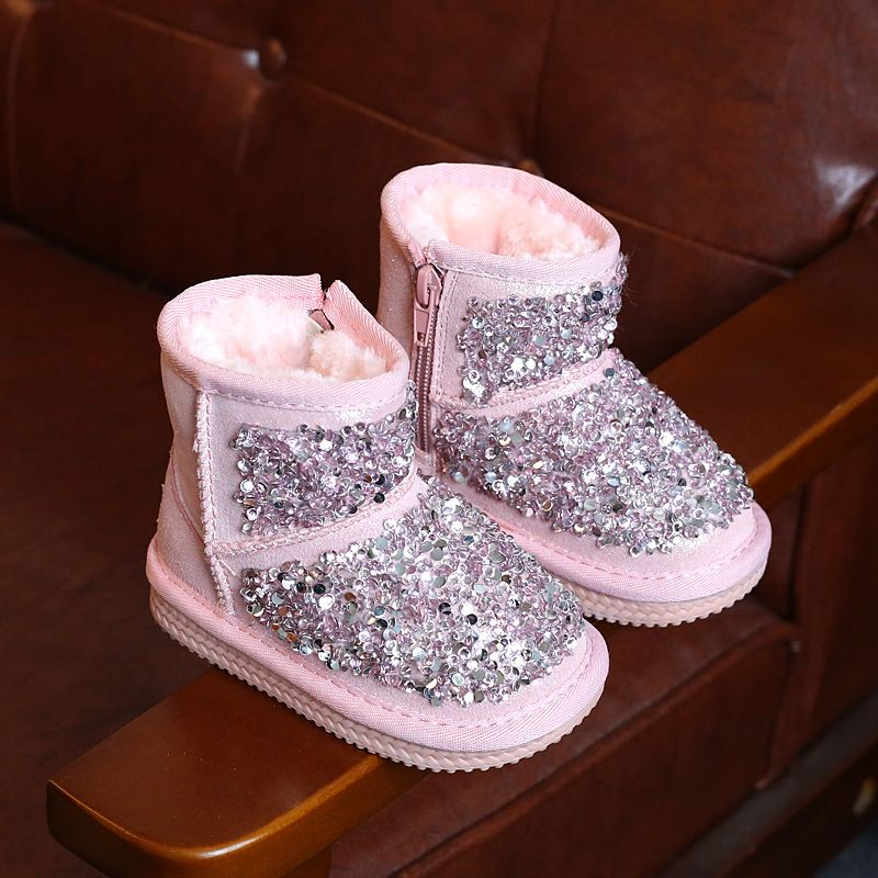 winter fashion fur rubber boots for children pink glitter shoes boys pu leather rubber boots baby girls brand warm rubber boots