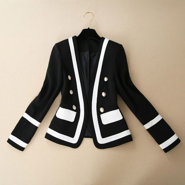 Casual Jacket 2015 Autumn Fashion New Arrival Brief New Button Full Sleeve Black Slim Office Lady Jacket