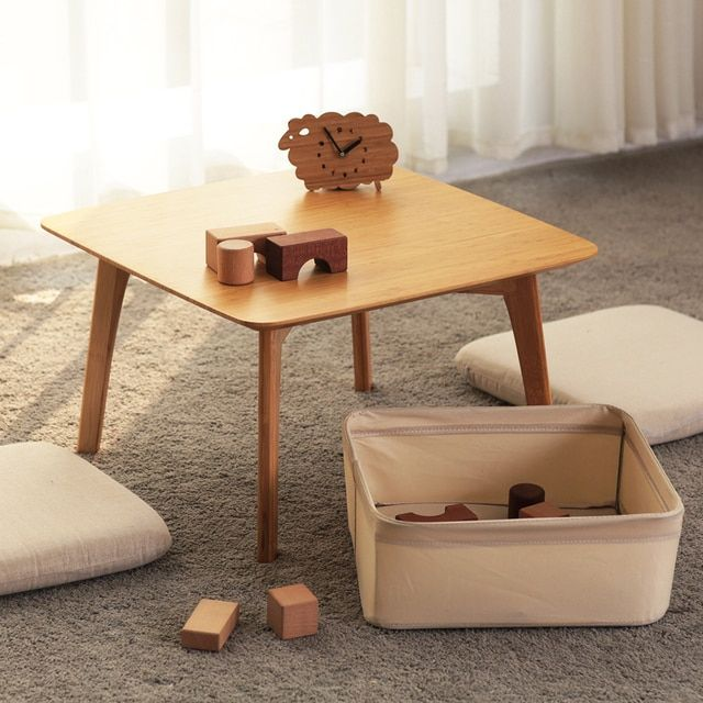 ZEN'S BAMBOO Coffee Table with 2 Cushion and a Storage Basket Japanese Small Table