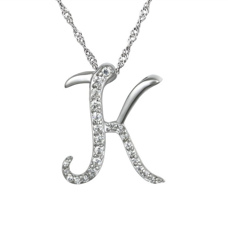 10pcs/lot Shuyani Letters Necklace 2016 Silver Crystal Letters K Pendant Necklace Clavicle Chain For Women
