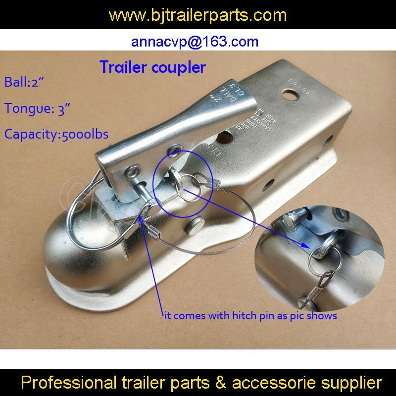 "CVP Trailer coupling 2"" x 3'' Ball Hitch Back Trailer Coupler straight Tongue 3"" 5000 Lbs,trailer parts"